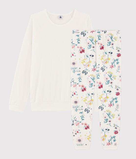 Pijama de chica - mujer con flores de dos materiales blanco Marshmallow / blanco Multico