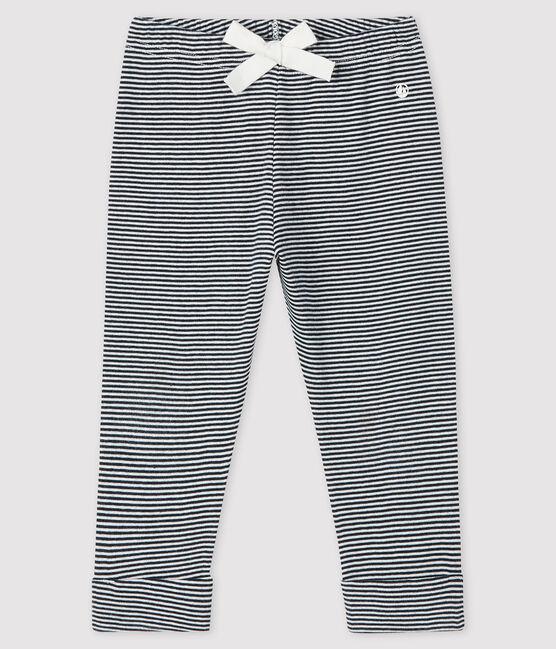 Pantalón mil rayas para bebé niña azul Smoking / blanco Marshmallow