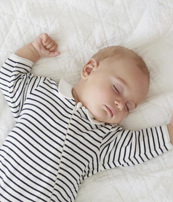 Pijama de punto con cremallera para bebé blanco Marshmallow / azul Smoking