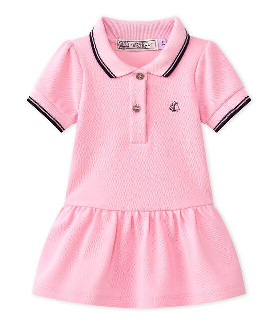 Vestido para niña de manga corta rosa Babylone