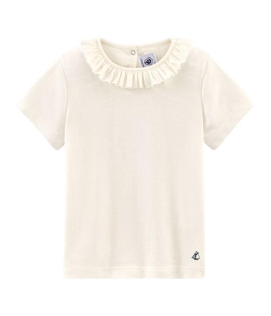 Camiseta manga corta infantil para niña blanco Marshmallow