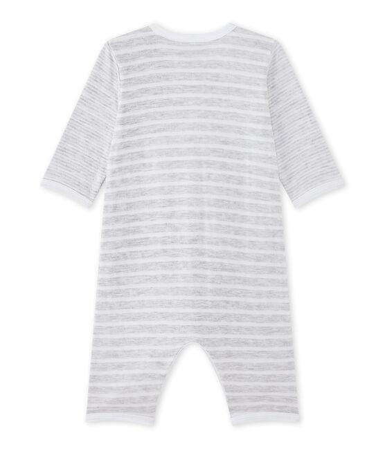 Pijama sin pies para bebé niño gris Poussiere / blanco Ecume