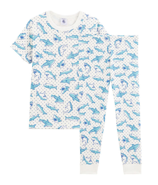 Pijama de canalé para niño con estampado de tiburón blanco Marshmallow / blanco Multico