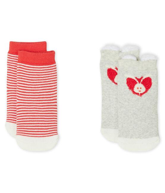 Lote de 2 pares de calcetines para bebé unisex gris Beluga / blanco Marshmallow
