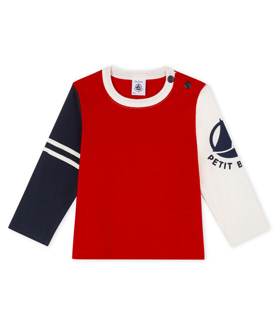 Camiseta de manga larga para bebé niño rojo Terkuit / blanco Multico
