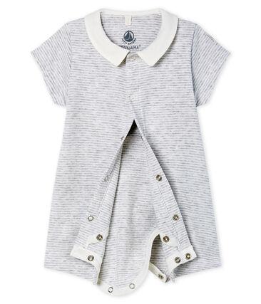 Bodyjama corto de punto para bebé gris Poussiere / blanco Marshmallow