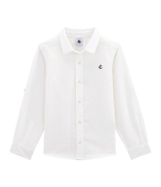 Camisa de lino y algodón para niño blanco Lait