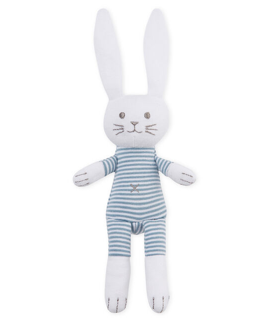 Peluche de conejo para bebé de jersey azul Fontaine / blanco Marshmallow