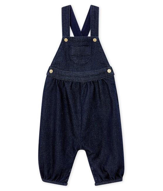 Peto en malla denim para bebé niña azul Denim Bleu Fonce