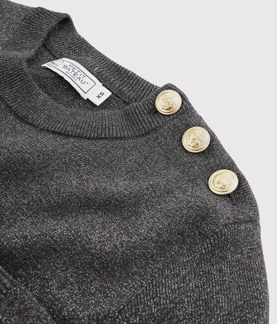 Jersey de algodón brillante para mujer negro City / gris Argent