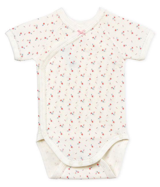 Body de nacimiento manga corta para bebé niña blanco Marshmallow / blanco Multico