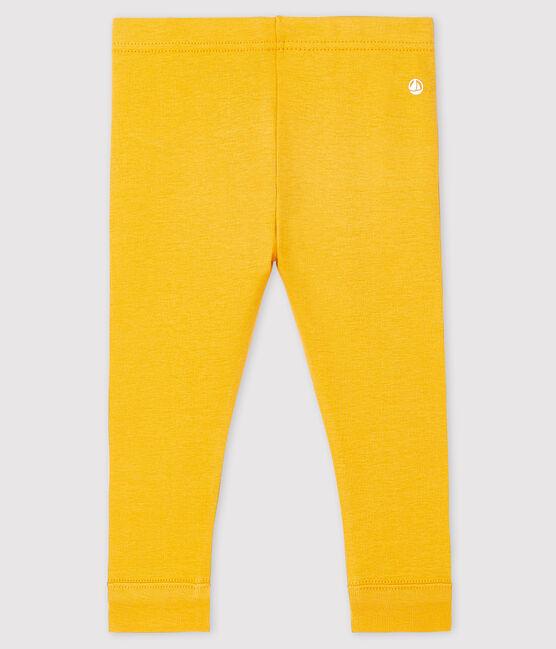 «Legging» de punto 1 x 1 liso para bebé niña. amarillo Boudor