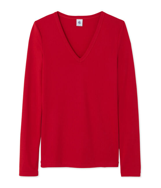 Camiseta de manga larga para mujer con cuello V rojo Mars