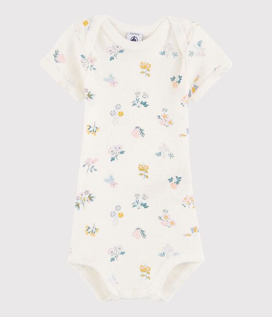 Bodi de manga corta de bebé niña blanco Marshmallow / blanco Multico