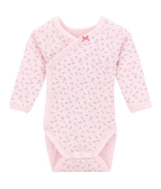 Body de nacimiento de manga larga estampado para bebé niña rosa Vienne / blanco Multico