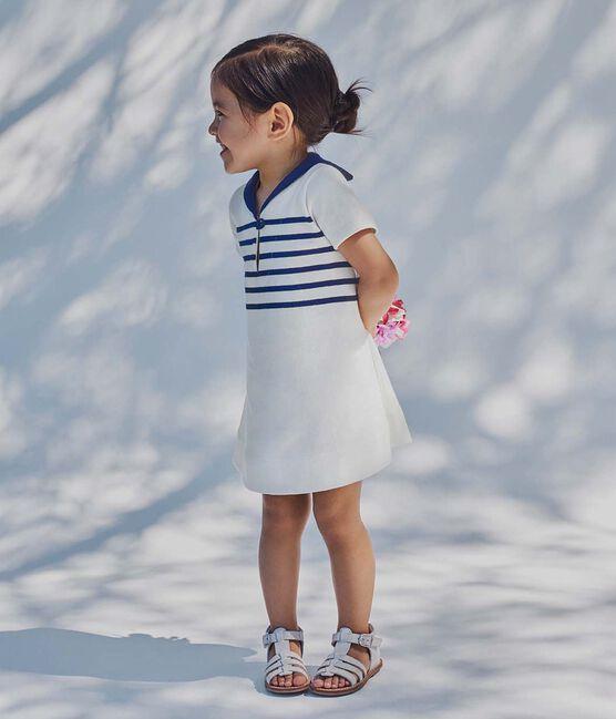 Vestido bebé niña en jersey grueso blanco Marshmallow / azul Smoking
