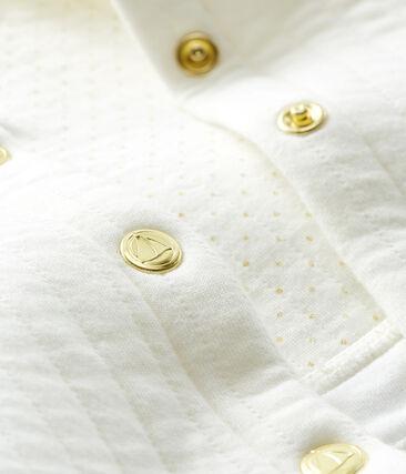 Abrigo de tejido túbico acolchado para bebé niña blanco Marshmallow