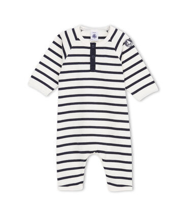 Baby boy coverall in striped heavy jersey beige Coquille / azul Abysse