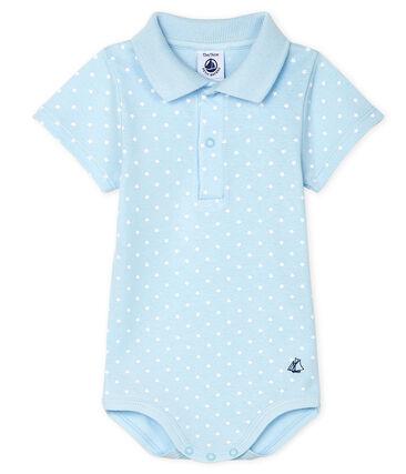 Bodi con cuello de polo estampado para bebé niño azul Fraicheur / blanco Marshmallow
