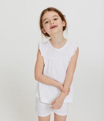 Pijama corto de algodón fino para niña blanco Ecume