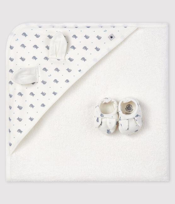 Estuche con toalla de baño y patucos para bebé de rizo y punto blanco Marshmallow / gris Gris