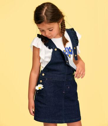 Vestido peto de niña azul Denim Bleu Fonce