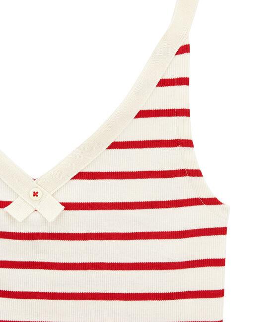 Camiseta de tirantes 100 anos de la braguita mujer beige Coquille / rojo Terkuit