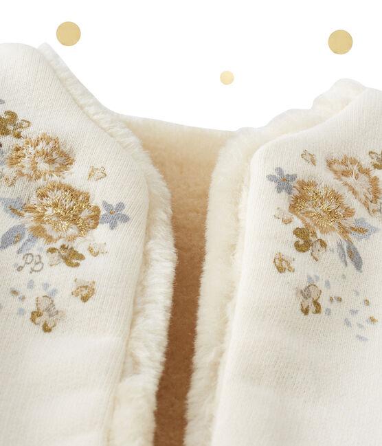 Chaleco de bebé niña reversible beige Coquille