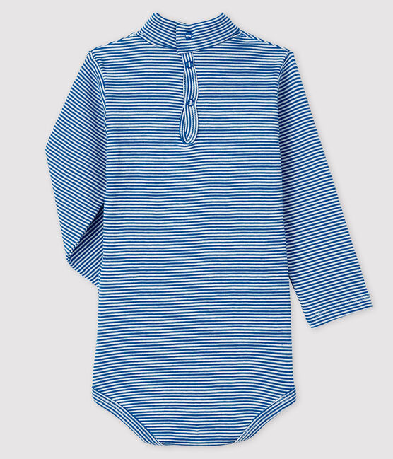 Bodi de manga larga con cuello de tortuga para bebé azul Ruisseau / blanco Marshmallow