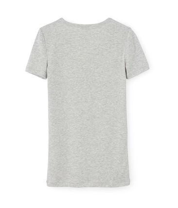 Camiseta manga corta de cuello pico para mujer