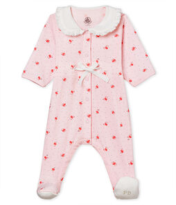 Pelele de punto 1x1 estampado para bebé niña