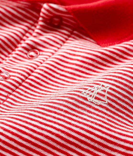 Body tipo polo milrayas para bebé niño rojo Terkuit / blanco Marshmallow