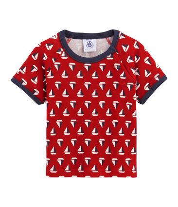 Camiseta estampada para bebé niño. beige Coquille / rojo Terkuit
