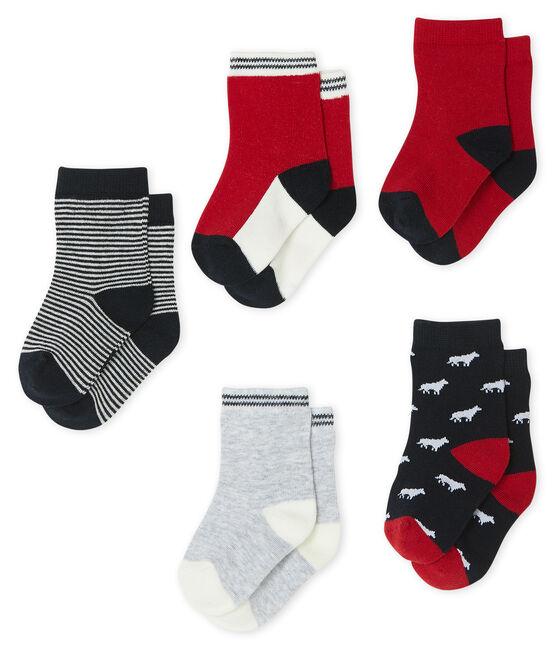 Lote de 5 pares de calcetines para bebé niño azul Smoking / blanco Multico