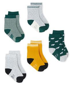 Lote de 5 pares de calcetines para bebé niño verde Sousbois / blanco Multico
