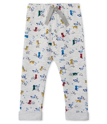 Pantalón de muletón estampado para bebé niño gris Beluga / blanco Multico