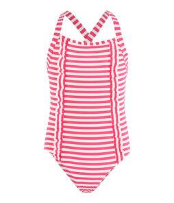 Traje de baño con protección solar para niña rosa Geisha / blanco Marshmallow