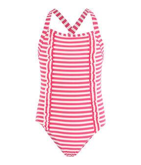 Traje de baño de una pieza a rayas con detalles de volantes. rosa Geisha / blanco Marshmallow
