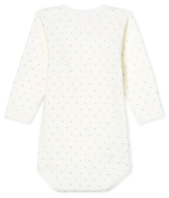 Body de manga larga para bebé niño blanco Marshmallow / azul Acier