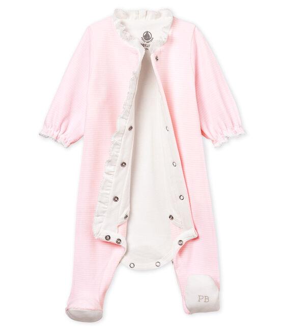Bodyjama de terciopelo milrayas para bebé niña rosa Pearl / blanco Multico