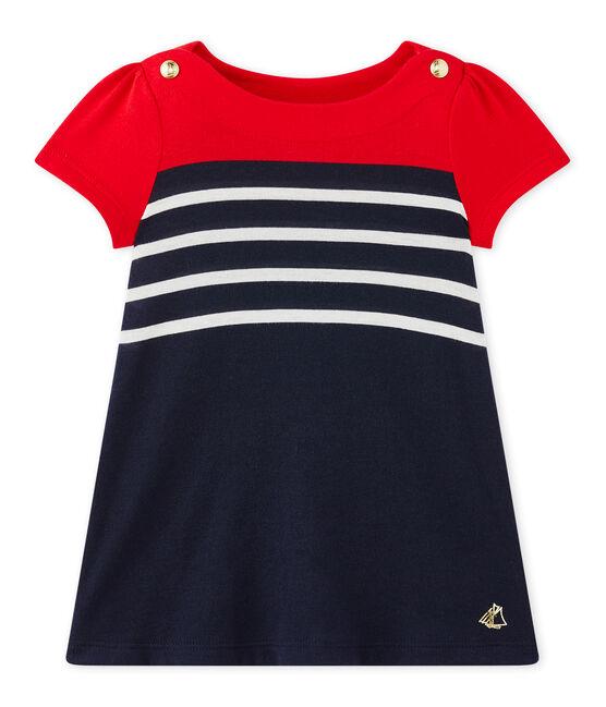 Vestido bebé niña a rayas azul Smoking / blanco Multico