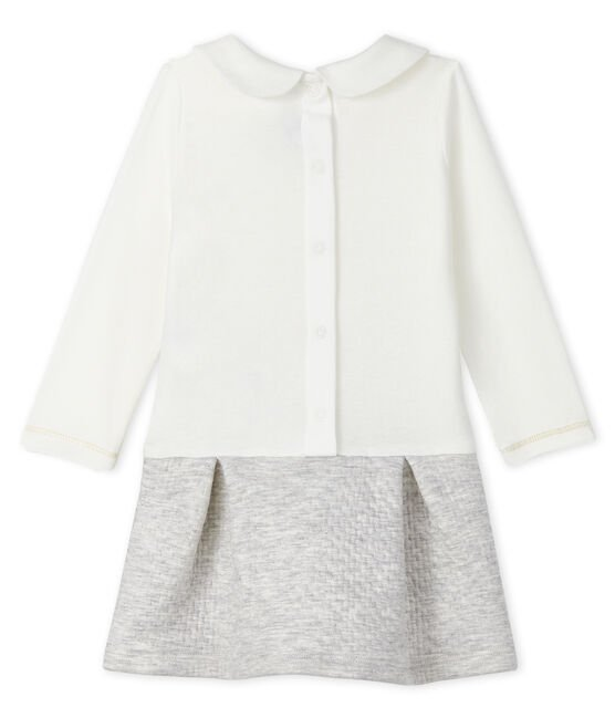Vestido bimaterial de manga larga para bebé niña blanco Marshmallow / gris Beluga