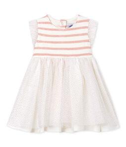 Vestido sin mangas de dos materiales para bebé niña