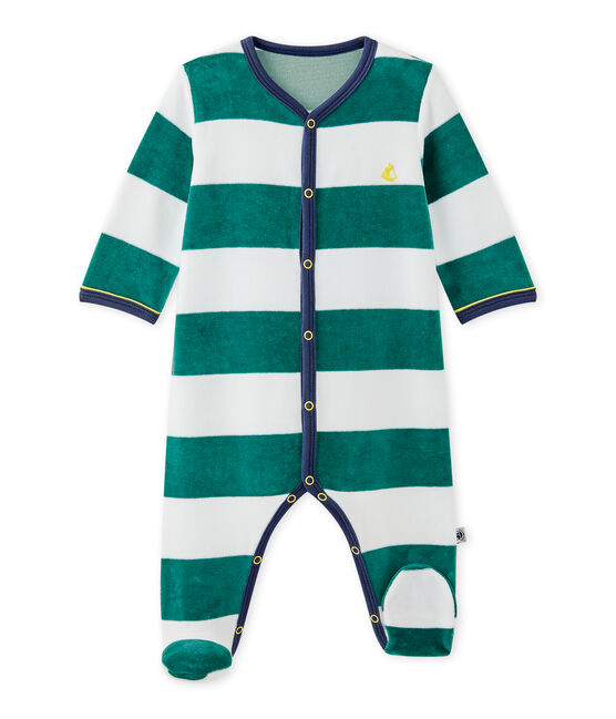 Pelele de terciopelo de rayas para bebé niño verde Olivier / blanco Ecume
