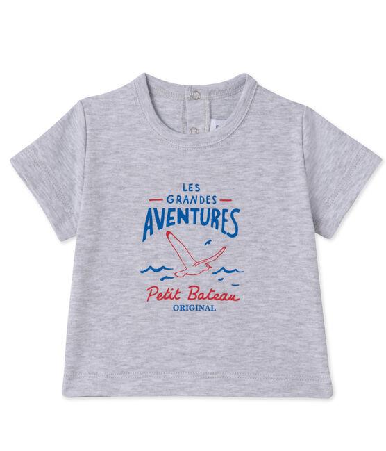 Camiseta serigrafiada para bebé niño gris Poussiere Chine