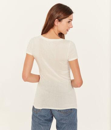 Camiseta manga corta de cuello pico para mujer blanco Ecume