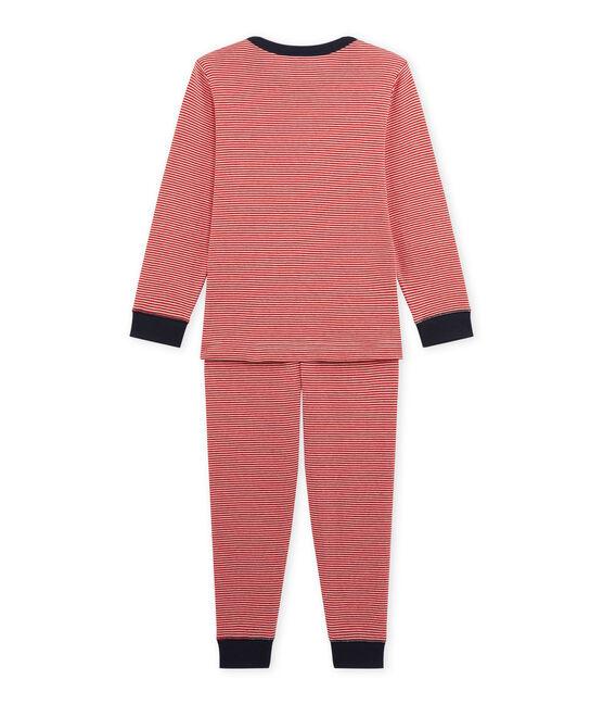 Pijama milrayas para niño rojo Froufrou / beige Coquille