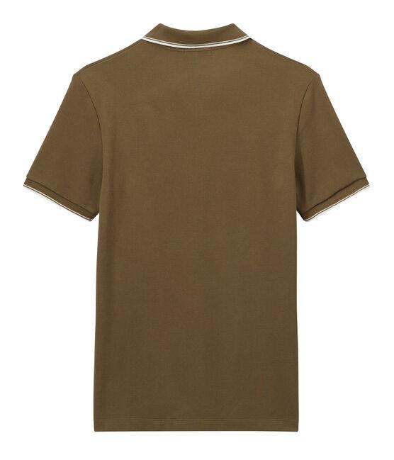Polo para hombre de tejido de piqué marrón Shitake