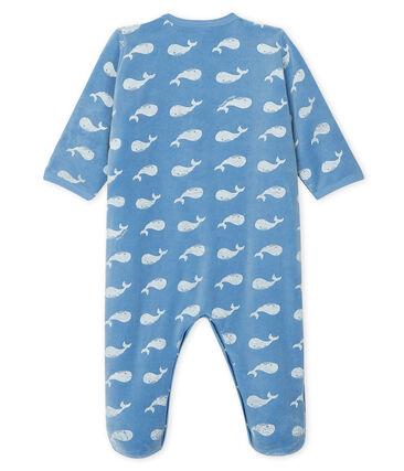 Pijama de terciopelo para bebé niño azul Alaska / blanco Marshmallow
