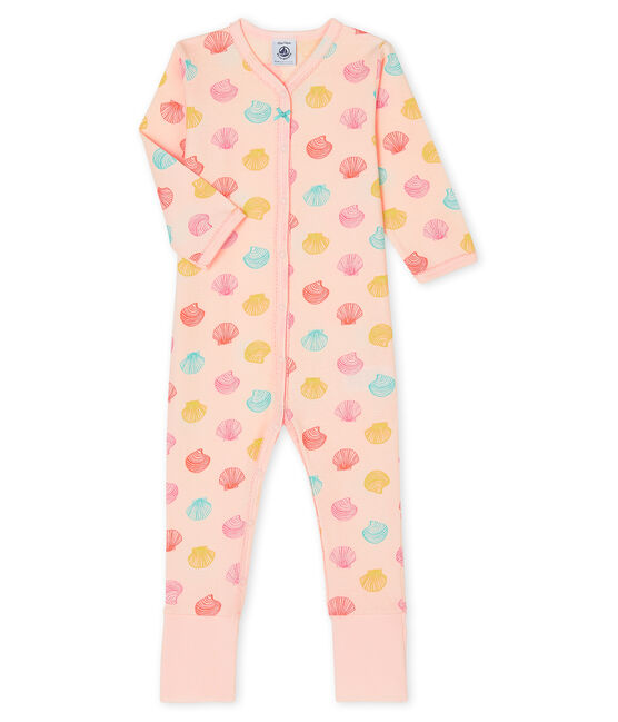 Pijama de punto para bebé de niña rosa Fleur / blanco Multico